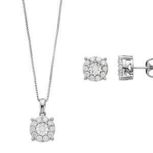 Sterling Silver Diamond Necklace & Earring Set